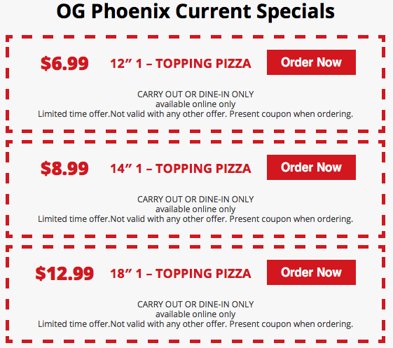 Phoenix Pizza Specials - Original Genos